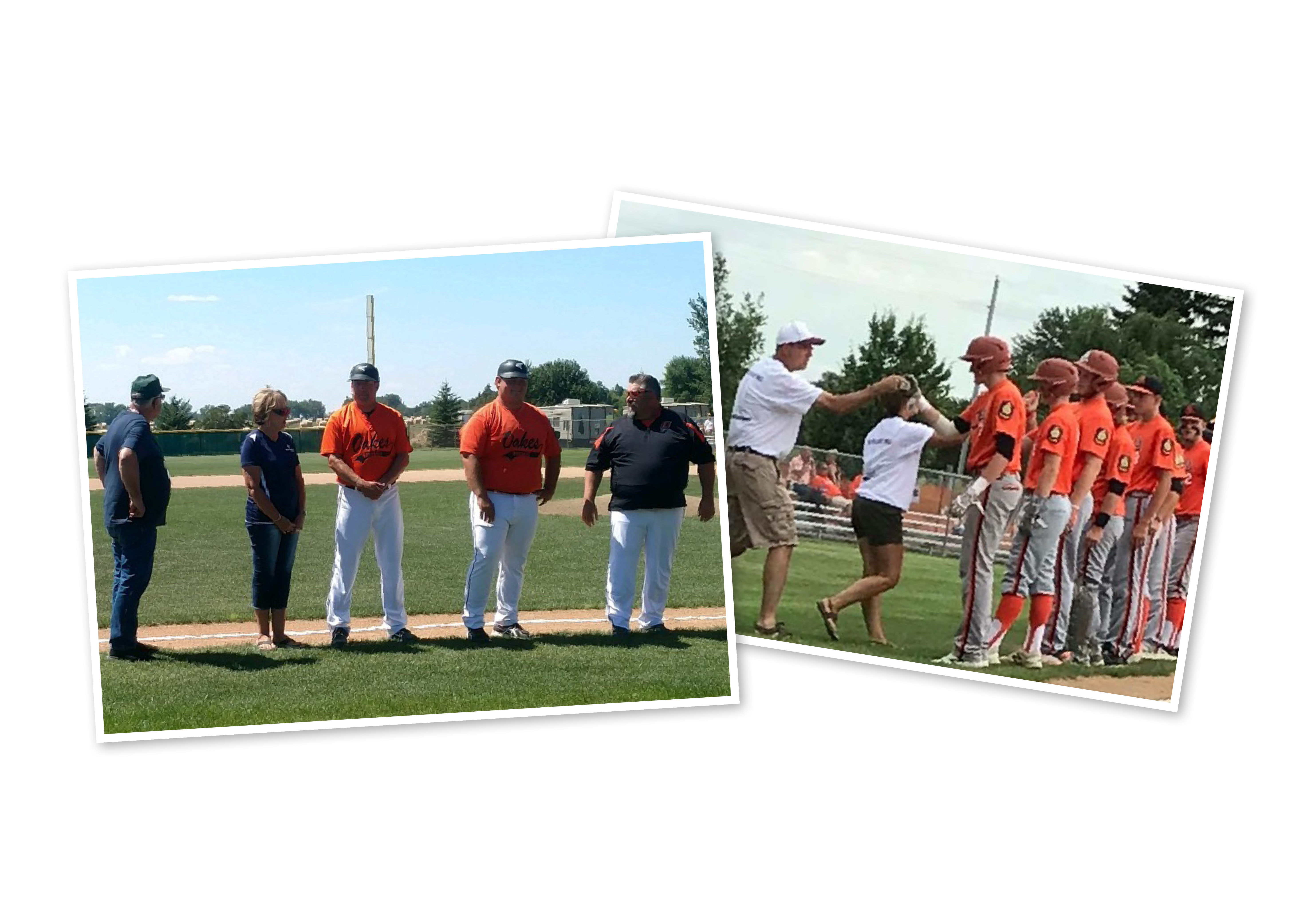 Baseball players and coaches line the bases