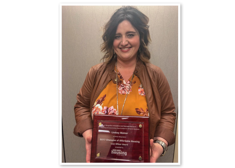 Lindsey Matter Accepting Her Award