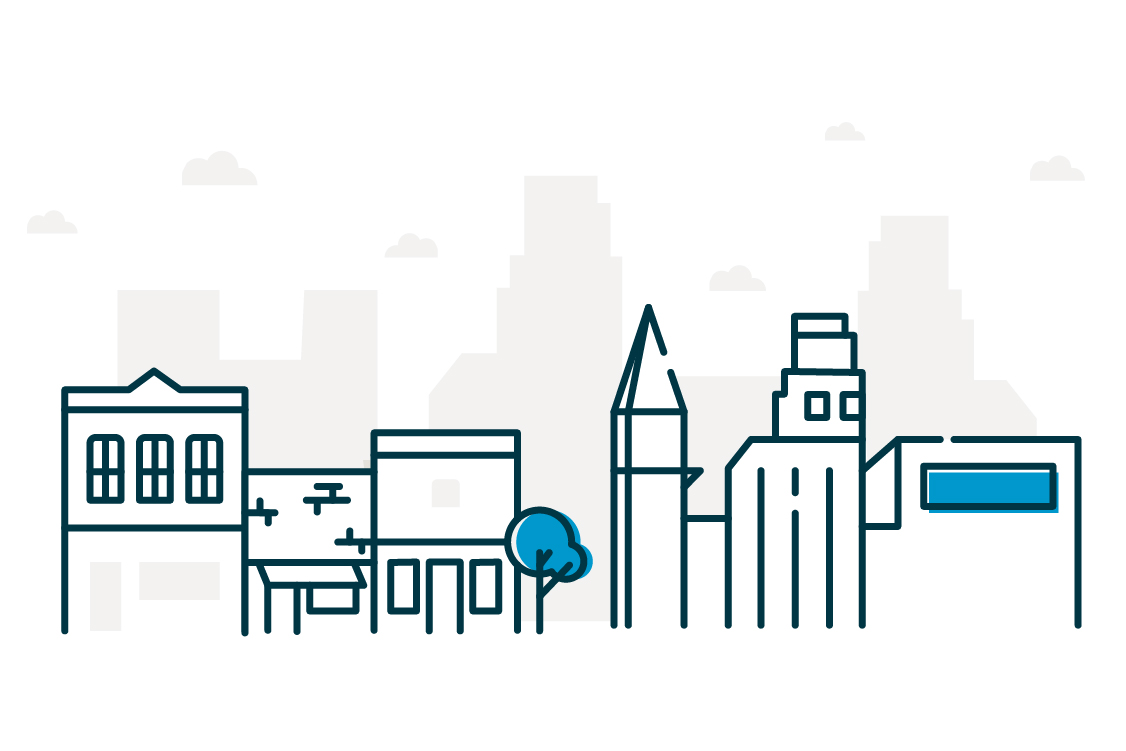 Graphic of city landscape.