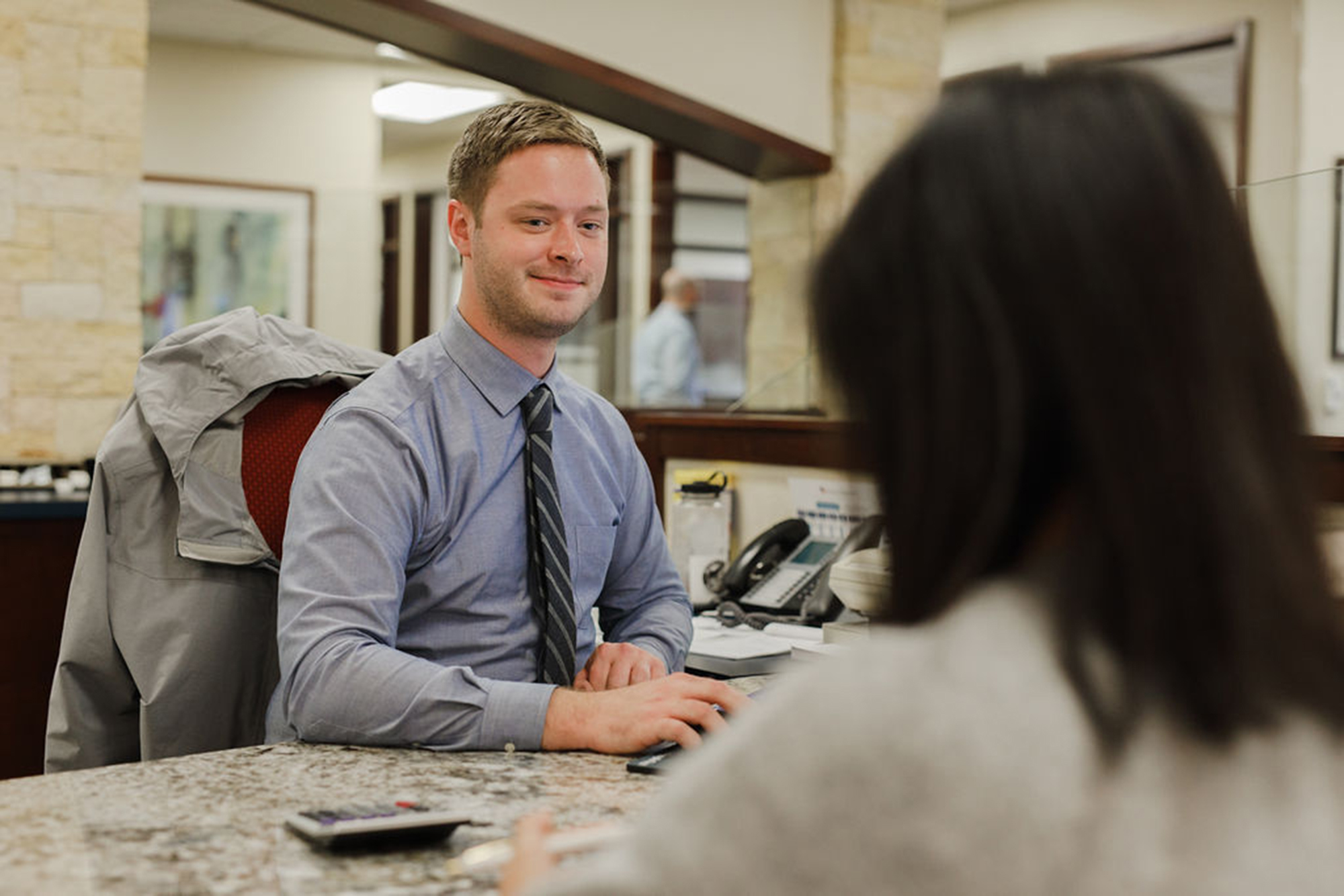 Welcoming employee