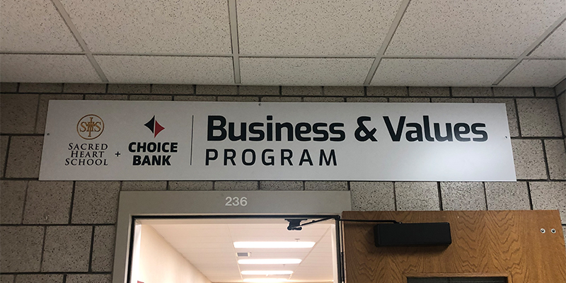 Choice Bank Business and Values Program at Sacred Heart School