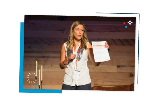 Samantha Berg presenting at a conference.