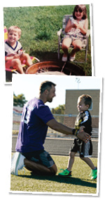 Photo of Adam Thielen at football camp and him as a child.