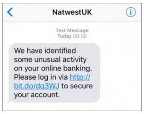SMS Phishing Example.